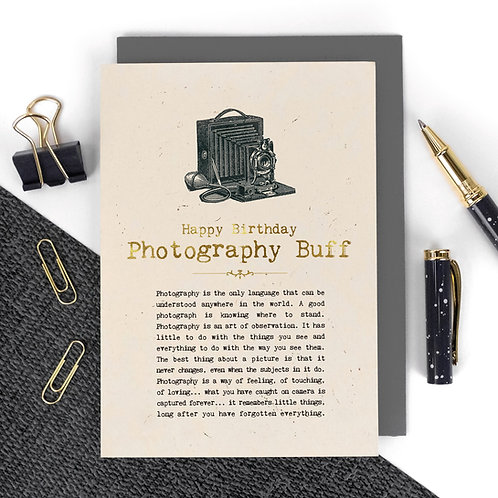 Photography Buff Luxury Foil Birthday Card with Quotes