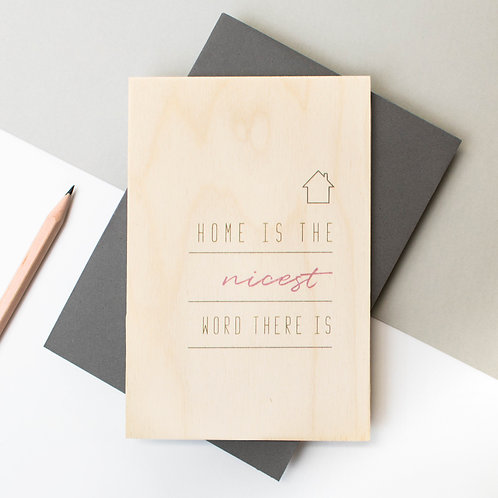 'Home Is The Nicest' Wooden Housewarming Card x 6
