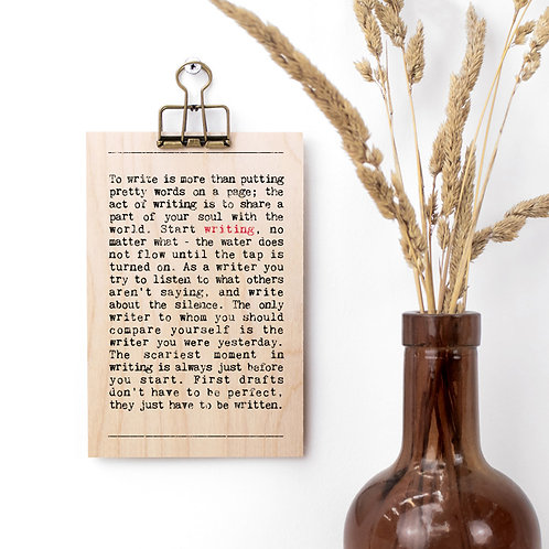Writing Quotes Wooden Sign with Hanger