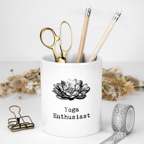 Yoga Quotes White Ceramic Pen Pot