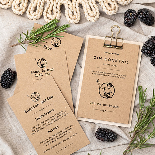 Gin Cocktail Recipe Cards on Mini Clipboard