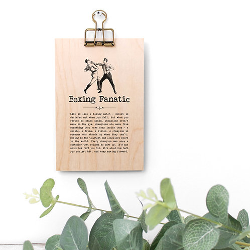 Boxing Quotes Wooden Sign with Hanger