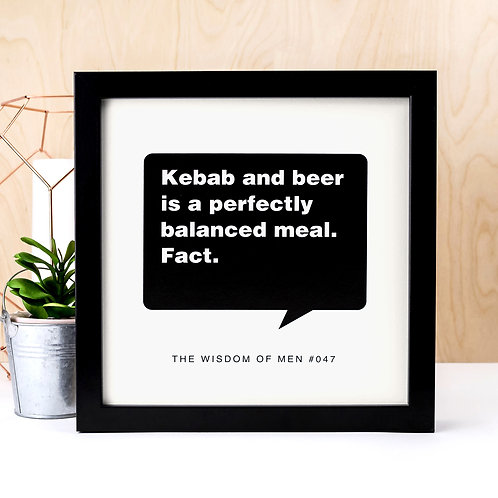 Kebab and Beer Funny Unframed Quote Print
