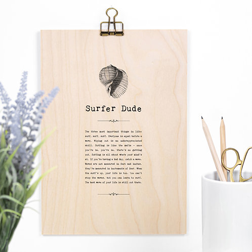 Surfing Wooden Sign with Hanger