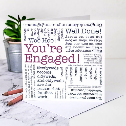 Engagement 'You're Engaged!' Love Quotes Card