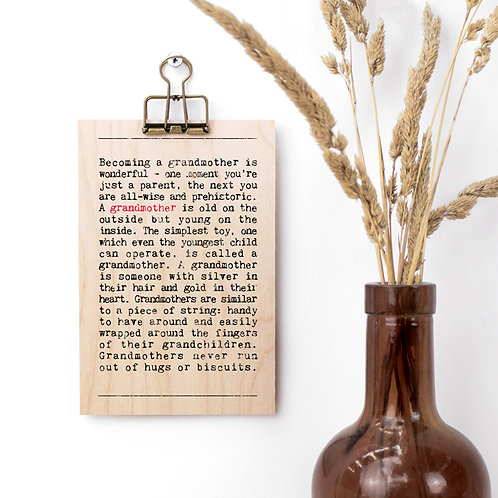 Grandmother Wise Words Wooden Plaque with Hanger x 3