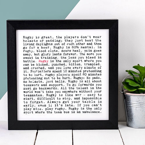 Rugby Wise Words Quotes Print