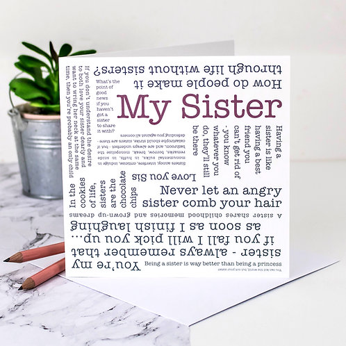 My Sister Quotes Card x 6
