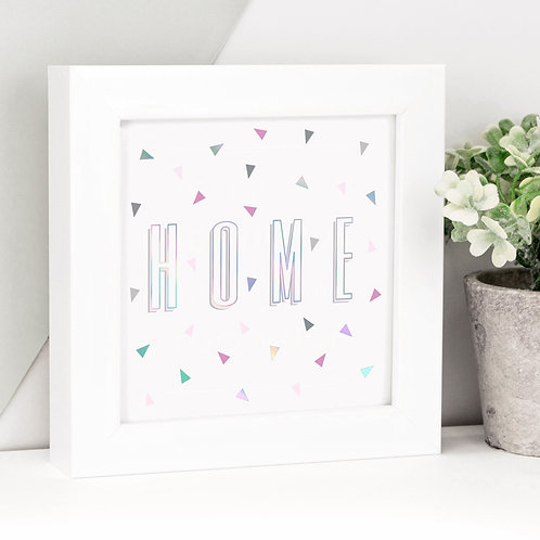 Home Holographic Framed Print x 3