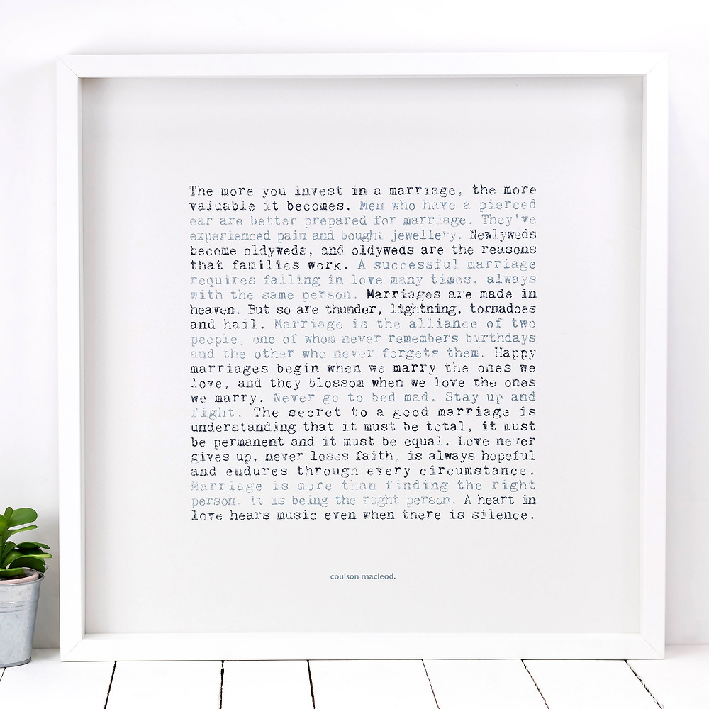 Marriage Typographic Quotes Poster Print