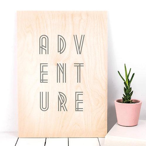 ADVENTURE Typographic Wooden Plaque