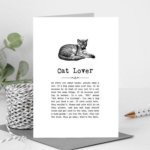 Cat Lover Vintage Words Greeting Card x6