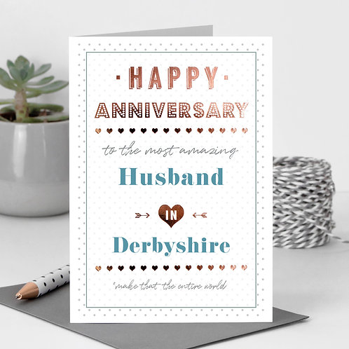 Happy Anniversary Dotty Personalised Card in Blue x 6