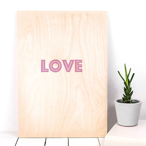 LOVE Typographic Wooden Plaque