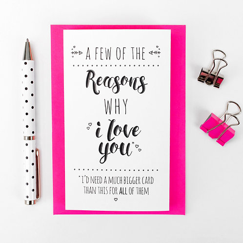 Reasons Why... Love Quotes Concertina Card x 6
