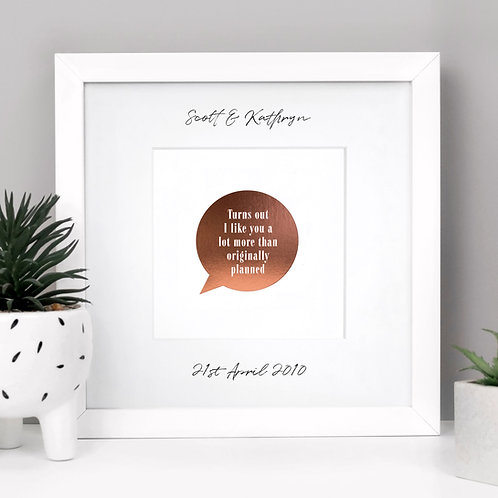 Personalised Framed Anniversary Print with Funny Quote