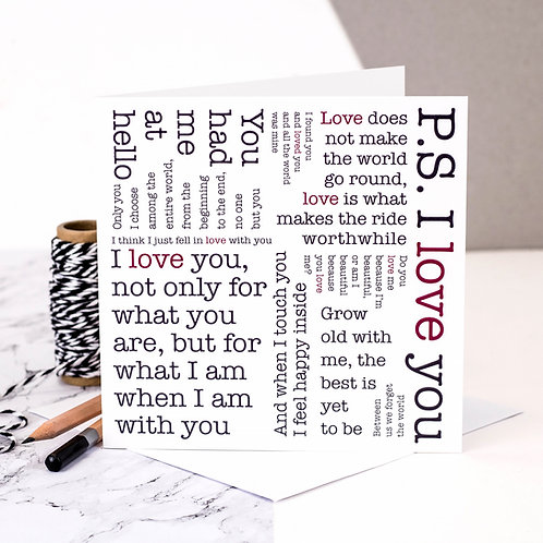 P.S. I Love You Quotes Card