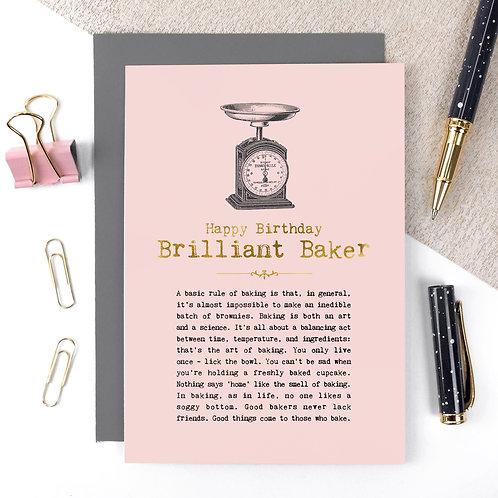 Brilliant Baker Vintage Foil Birthday Card x 6
