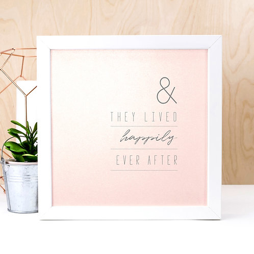 Happily Ever After Glitter Pink Print x 3