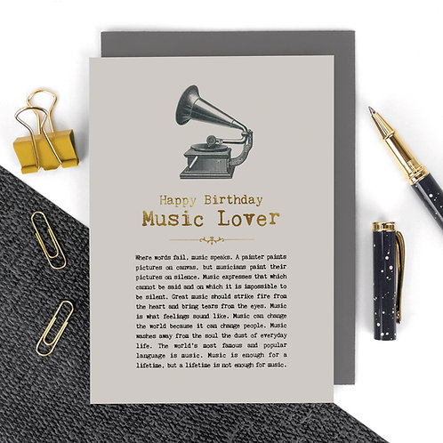 Music Lover Luxury Foil Birthday Card with Quotes