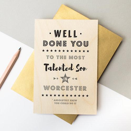 Well Done! Wooden Keepsake Card x 6