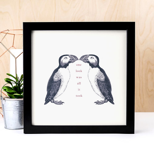 Vintage Puffins Unframed Love Quote Print