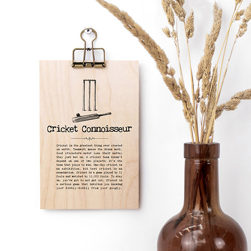 Cricket Quotes Mini Wooden Sign with Hanger