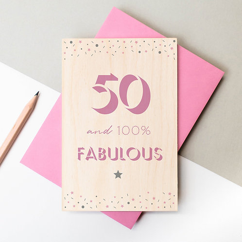 50th Birthday Wooden Plaque Card x 6