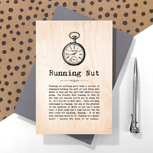Running Nut Mini Wooden Plaque Card x 6