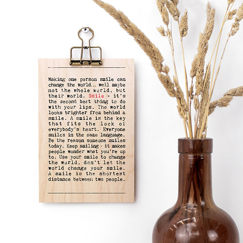 Smile Quotes Wooden Sign with Hanger