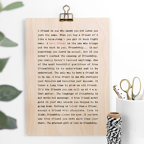 Best Friend Gift Wooden Sign with Hanger