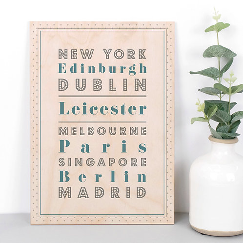 Locations Personalised Dotty Wooden Plaque in Blue x 3