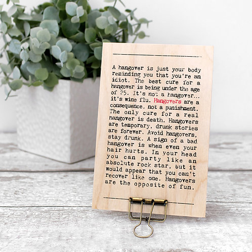 Hangovers Wise Words Wooden Plaque with Hanger x 3