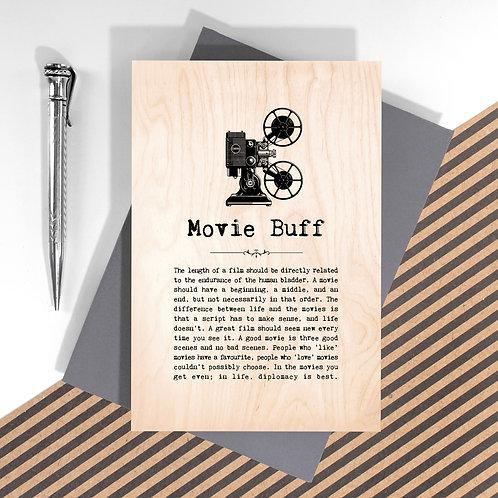 Movie Buff Mini Wooden Plaque Card x 6