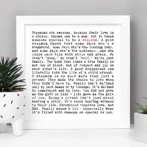 Stepmum Wise Words Quotes Print for Her
