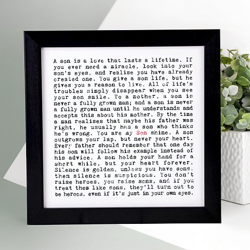 Son Quotes Personalised Print for Him