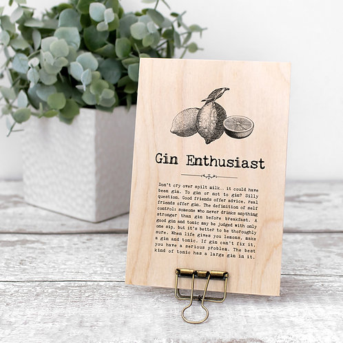 Gin Quotes Mini Wooden Sign with Hanger
