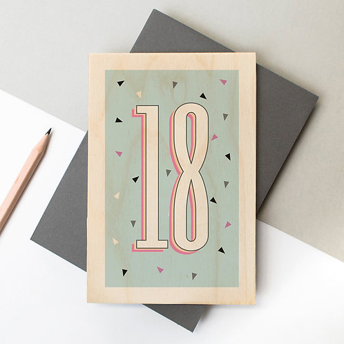 18th Birthday Funky Confetti Wooden Age Card