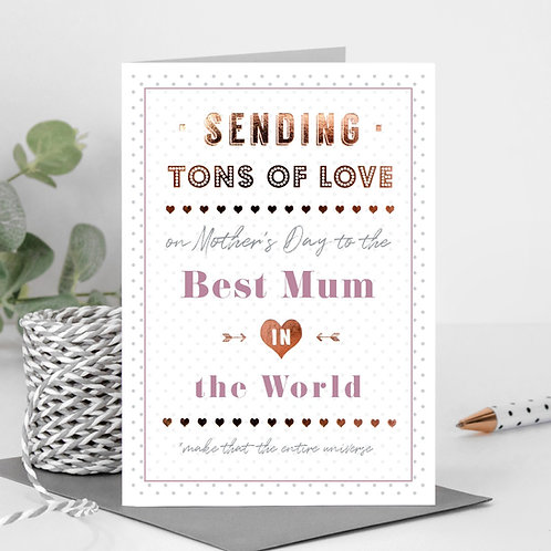 Best Mum in the World Rose Gold Mother's Day Card
