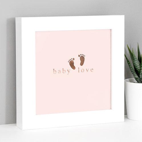 Baby Love Framed Mini Metallic Rose Gold Print