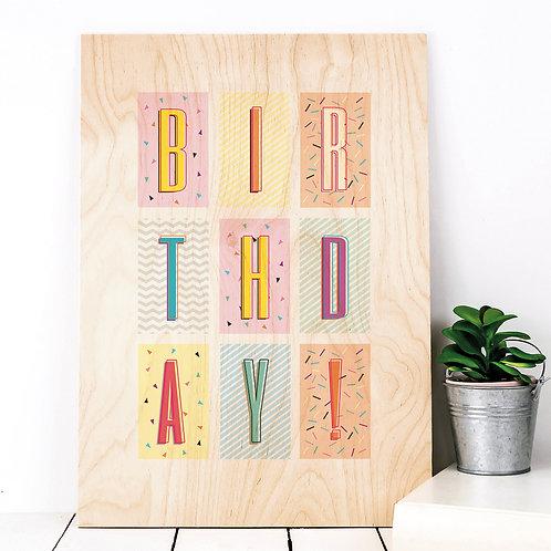 Birthday! Funky Confetti A4 Wooden Print x 3