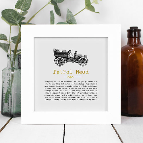 Petrol Head Personalised Framed Car Quotes Print