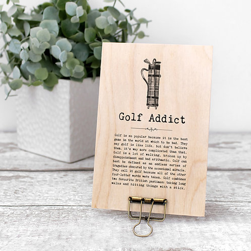 Golf Quotes Wooden Sign with Hanger
