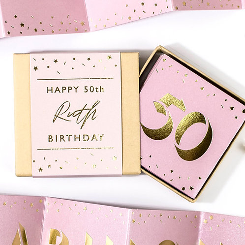 Matchbox Fabulous 50th Birthday Pink and Gold Concertina Card