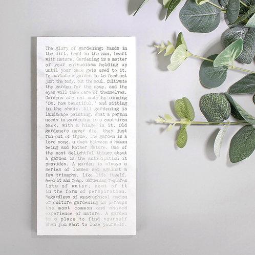 Gardening Metallic Marble Quotes Plaque for Plant Lovers