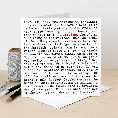Scotland Wise Words Greeting Card with Quotes