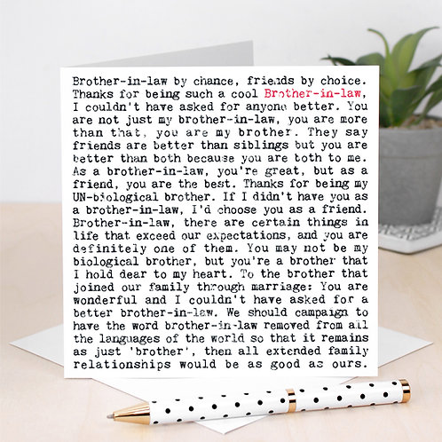 Brother in Law Wise Words Quotes Card x 6