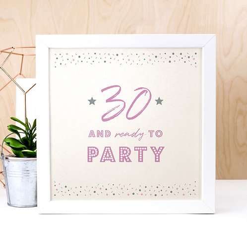 30th Birthday Pearl Typographic Art Print
