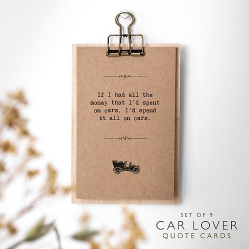 Car Lover Quote Cards on Mini Clipboard x 3
