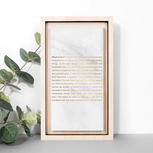Gold What is Love? Poem Print on Marble Stone